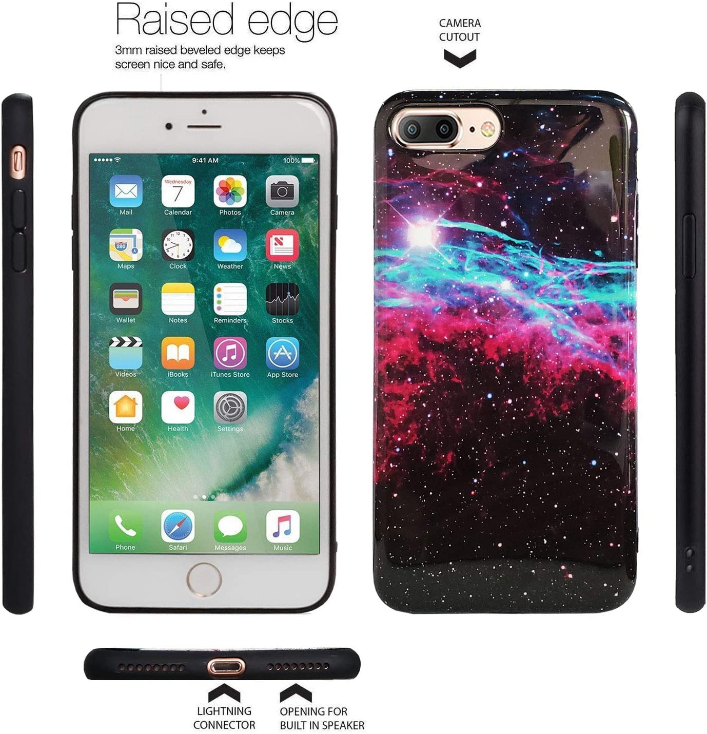 J.west iPhone 7 Plus Case, iPhone 8 Plus Case, Red and Blue Nebula Beautiful Galaxy Pattern Slim Soft TPU Bumper Rubber Silicone Protective Phone Case Cover for iPhone 7 Plus 8 Plus 5.5