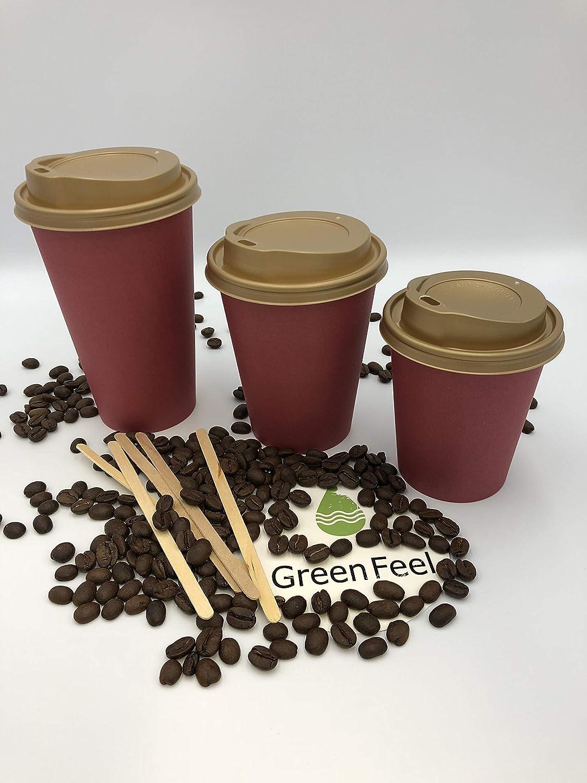 Lot de 1000 gobelets en papier jetables à paroi unique Rouge Café Thé & Noir Doré 12oz 30,5 g x 50-1000 boissons froides chaudes à emporter 227 g