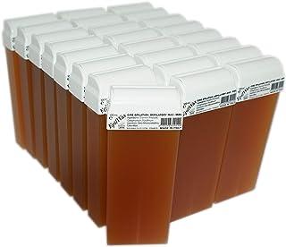 Epilwax 24 Cartuchos Roll-On de Cera Depilatoria Tibia Cera roll on de 100 ml Miel cera profesional de alta calidad para Depilación con Bandas Depilatorias des las piernas, axilas, y el cuerpo