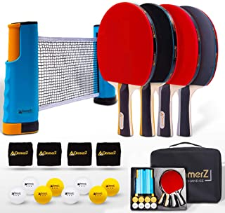 Portable Ping Pong Paddle Table Tennis Set with Ping Pong Net & Ping Pong Table Accessories - 4 Table Tennis Racket, 8 Balls, 4 Sweatband, 1 Ping Pong Table Net with Carrying Case