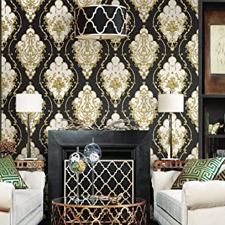 Blooming Wall: Non-Woven Elegant European Flocking Embossed Textured Damasks Wallpaper Wall Mural Wallpaper for Living Room Bedroom, 20.8 In32.8 Ft=57 Sq.ft,Gold/Black (Black/Gold)