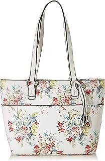 Gabor bags Umhängetasche Damen Flores, Weiß (Blumenmuster), L, Handtasche, Tasche Damen