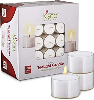 Kisco Genuine Tea Light Candles in Clear Holder Cups Bulk 100 Set. Long Burning 8hr, Unscented, for Mood, Dinners, Parities, Home, Decoration, Wedding, Crafts