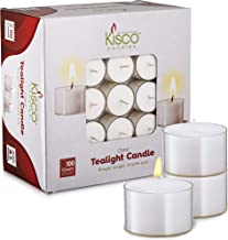 Kisco Genuine Tea Light Candles in Clear Holder Cups Bulk 100 Set. Long Burning 8hr, Unscented, for Mood, Dinners, Paritie...