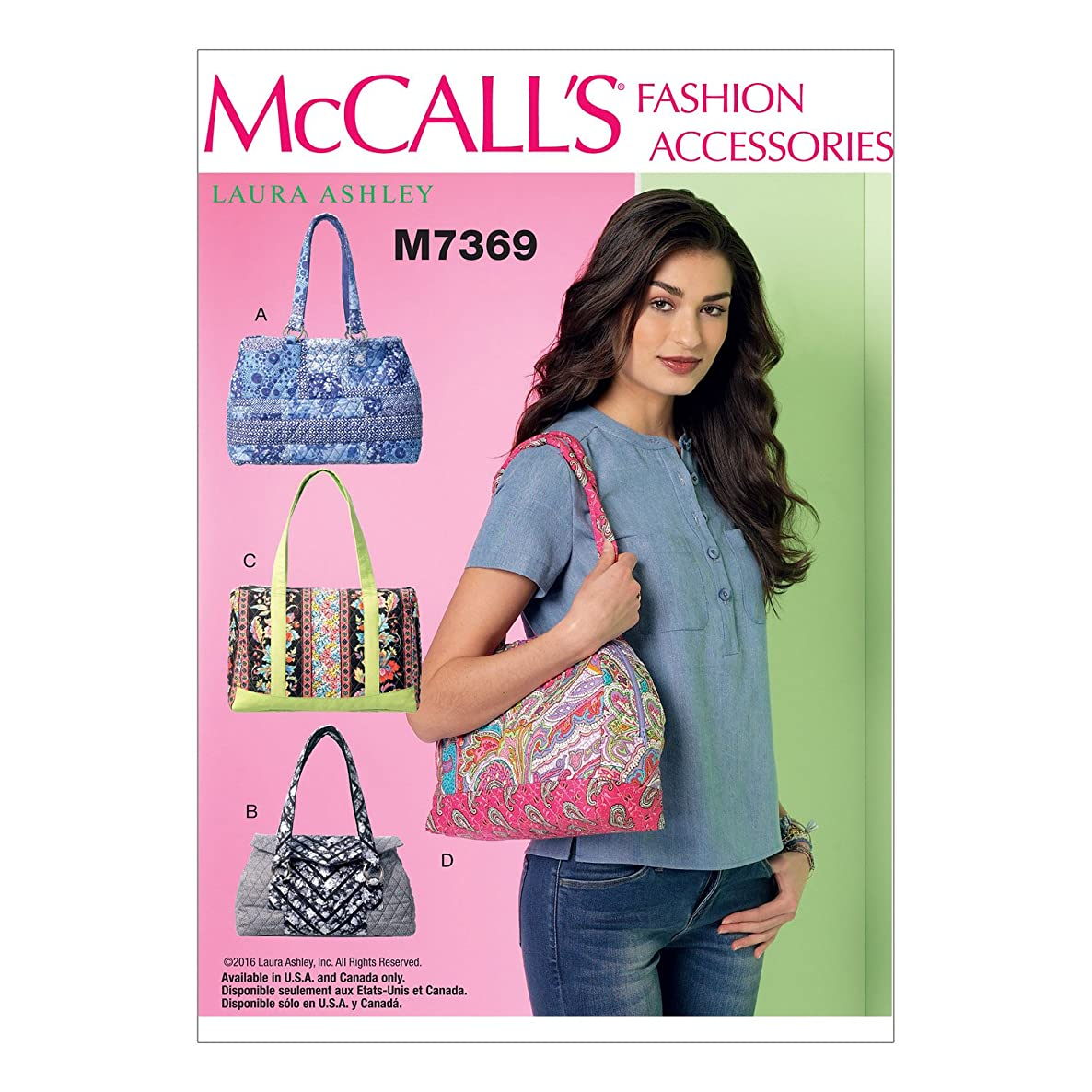 McCall's Patterns M7369 Banded Handbags in Four Styles, One Size Only