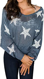 Seraih Womens Boat V Neck Long Sleeve Star Knitted Sweater Pullover Blouse Tops