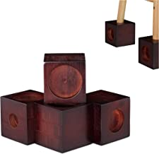 Relaxdays, Donkerbruin meubelverhoging van bamboe, kubus in set van 4, tafelverhoging, sokkel, stoelverhoging, 9,4 cm groot