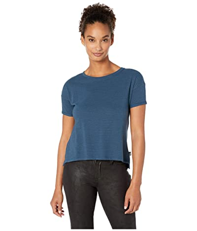 The North Face Short Sleeve Emerine Top (Blue Wing Teal Desert Stripe) Women