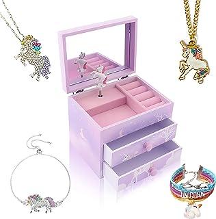 Agitation Unicorn/Princess Wooden Musical Jewelry Box for Girls with Unicorn/Princess Jewelry Set (Purple Unicorn2)