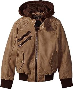 Reese PU Suede Moto Jacket w/ Fleece Hoodie (Toddler)