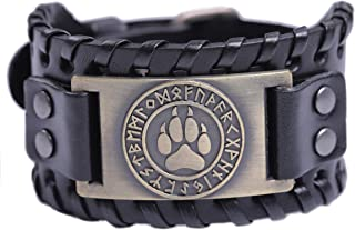 TEAMER Viking Wolf Paw Claw Norse Runes Leather Bracelet for Men Women Amulet Jewelry