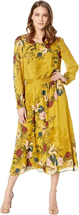 Long Sleeve Autumn Botanical Cinch Waist Dress