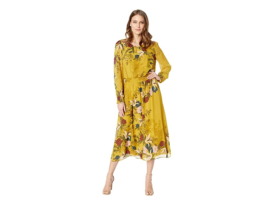 Vince Camuto Long Sleeve Autumn Botanical Cinch Waist Dress (Lemon Curry) Women