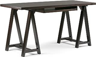 Simpli Home Sawhorse Solid Wood Modern Industrial 60 inch Wide Writing Office Desk in Dark Chestnut Brown