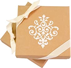Gorgeous Jewelry & Gift Box (Kraft Brown, Square, 3.5 x 3.5 x 1 Inches) - 6 boxes