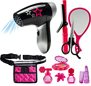JaxoJoy Beauty Stylist Set – Complete Play Pretend Hair Salon Station Gift Playset for Girls with Toy Blow Dryer, Curler, ...