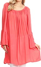 Sakkas Anna Casual Flowy Wide Neck 3/4 Sleeve Light Summer Boho Blouse Top