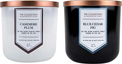 Chesapeake Bay Candle The Collection Two-Wick Scented Candle, (2-Pack), Cashmere Plum + Blue Cedar Fig