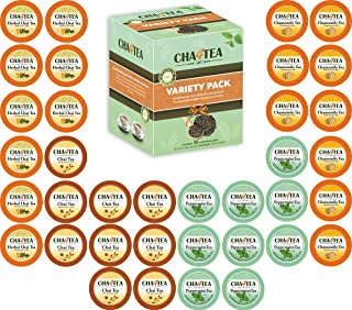 Cha4TEA 36-Count Herbal Tea Pods for Keurig K-Cup Brewer (Peppermint, Herbal Chai and Camomile, Chai Black ...