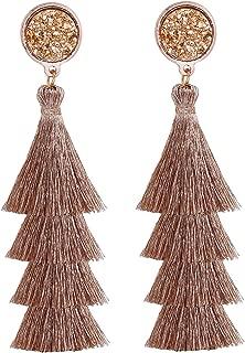 Tiered Tassel Drop Earrings Druzy Round Top Earring Studs for Women