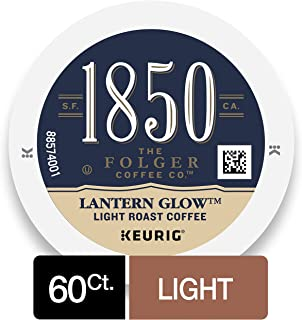 1850 by Folgers Coffee, Lantern Glow Light Roast Coffee, K Cups for Keurig Coffee Makers, 60 Count