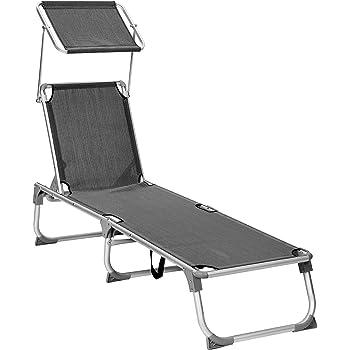 klappbar Grau atmungsaktiv f/ür Camping Freizeit Garten Strand,bis 110 kg belastbar Gartenliege mit verstellbarem Sonnendach TolleTour Sonnenliege 2er Set aus rostfreiem Stahl