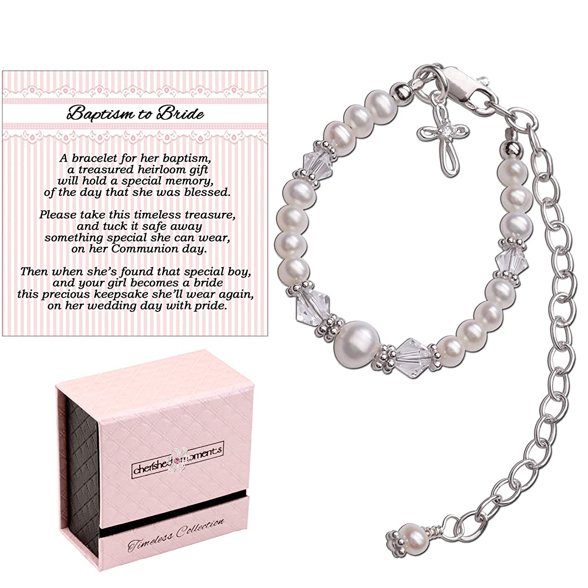 Baptism to Bride Cross Bracelet for Girls in Sterling Silver and Cultured Pearl