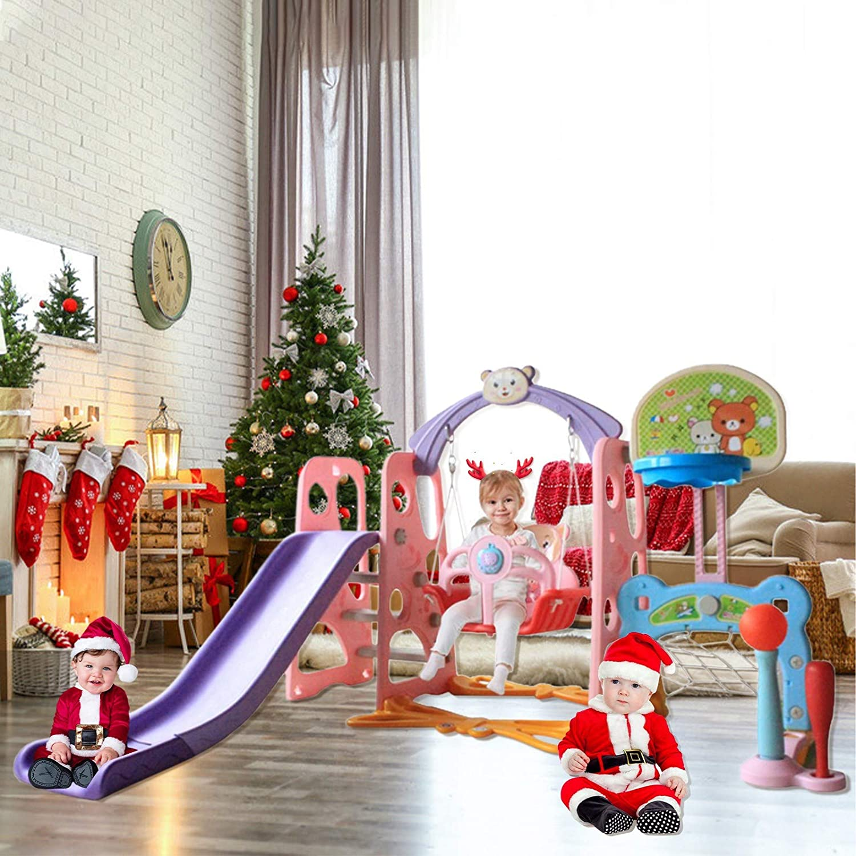【Clearance】 6 in 1 Toddler Slide Swing Set Climber Slide Playset for Indoor /& Outdoor Kids Slide Swing Playset W//Basketball Hoop/& Music Player Football Gate Baseball Bat