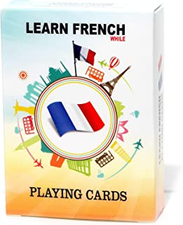 Learn French While Playing Your Favorite Card Game - Works for beginners too - Fun, Visual French Language Flash Cards with Phonetic Spelling - Learn New Vocabulary & Numbers Easily