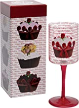 Santa Barbara Design Studio Christopher Vine Design Wine Glass with Colored Long Stem, Happy Birthday (Cupcake)