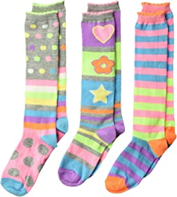 Jefferies Socks - Neon Stripe Dots Knee Hi 3-Pack (Toddler/Little Kid/Big Kid)