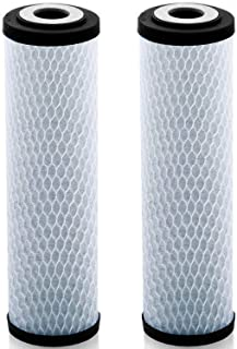 Universal 10 inch Carbon Block Lead Reduction Water Filter Cartridge - Replacement .5 Micron CTO Water Purifier Filter, Activated Carbon (NSF 42 Certified) (2)