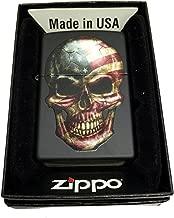 Zippo Custom Lighter - American Flag on Skull - Regular Black Matte