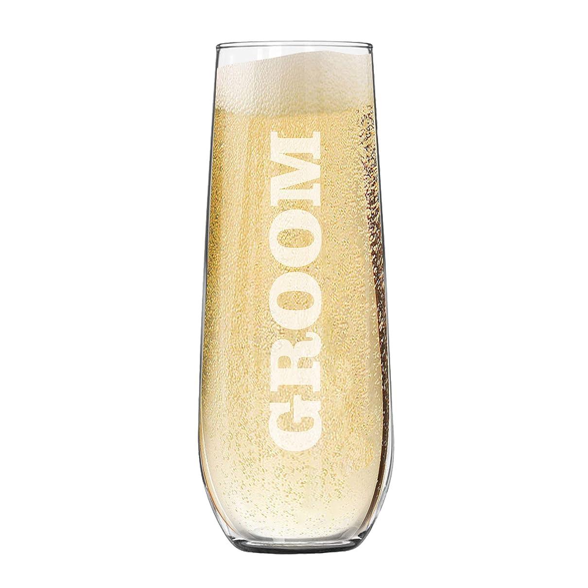 記念品周波数必要条件My Personal Memories 刻印入りステムレスシャンパンフルートグラス 結婚式 独身男性 披露宴 パーティー用 Groom - 8.5 oz クリア MPM407