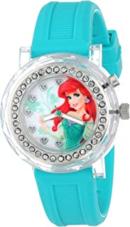 Disney Kids' PN1066 Rhinestone-Accented Watch with Turquoise Rubber Band