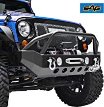 EAG Front Bumper with D-rings and Winch Plate Fit for 07-18 Jeep Wrangler JK Rock Crawler