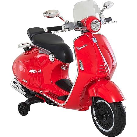 HOMCOM Moto Eléctrica Vespa Faros Música 2 Ruedas Auxiliares para Niños Mayores de 3 Años Motocicleta Infantil Autorizada 108x49x75 cm Rojo