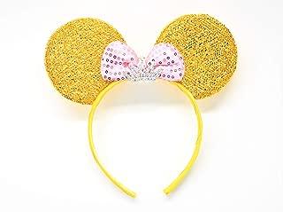 Minnie Mouse Princess Headband Gold Pink Bow Tiara Silver Rhinestones Crown