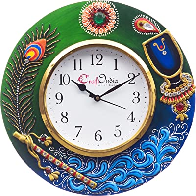 eCraftIndia Analog Wall Clock(Red & Green, with Glass)