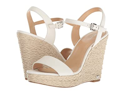 MICHAEL Michael Kors Jill Wedge (Optic White Tumbled Leather/Jute) Women
