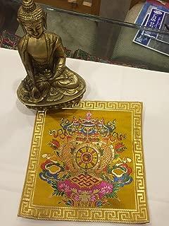 Tibetan Buddhist Silk Brocade Yellow Eight Auspicious Symbol placemat/Table Cover/Altar Cloth