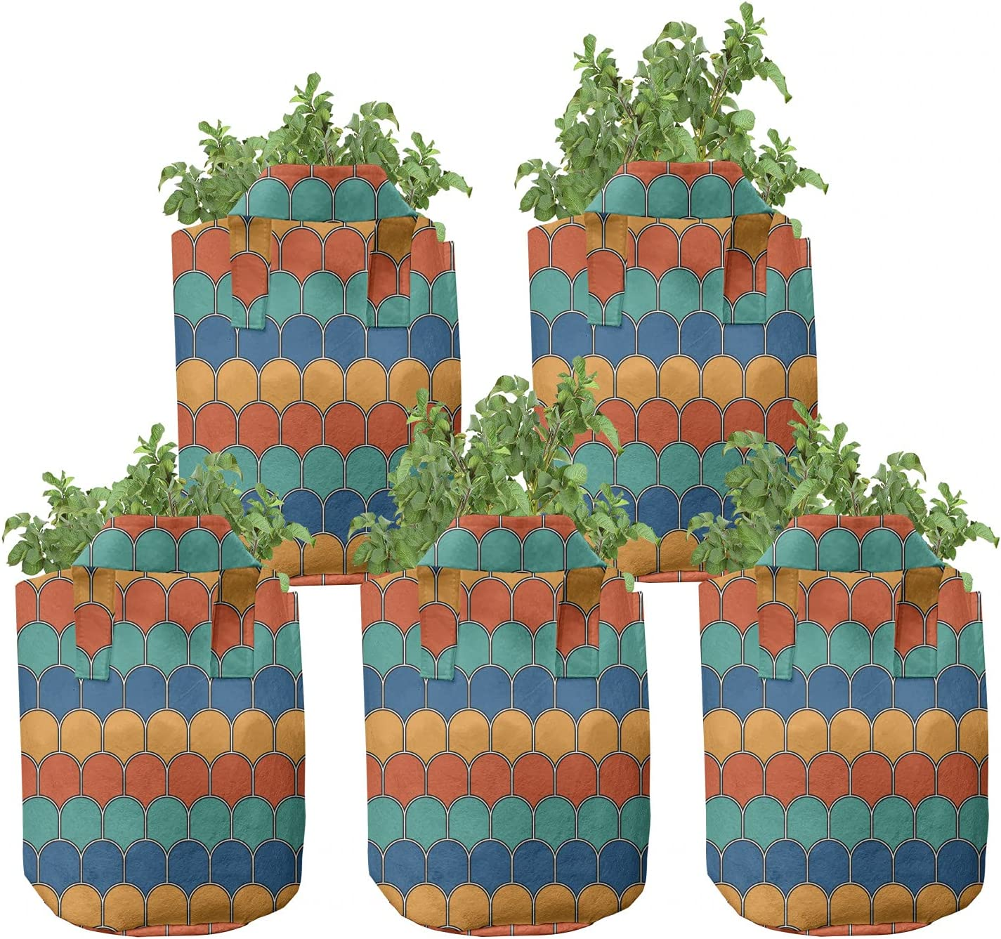 Ambesonne Abstract Grow shopping Minneapolis Mall Bags 5-Pack Ovals Modern Look Scale He