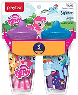 Playtex Sipsters Stage 3 My Little Pony Spill-Proof, Leak-Proof, Break-Proof Insulated Spout Sippy Cups - 9 Ounce - 2 Count (Color/Theme May Vary)
