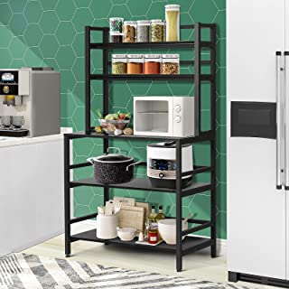 YGBH Bakers Rack for Home Kitchen, Microwave Stand with Storage, 5-Tier Kitchen Utility Storage Shelf, 2-Tier+3-Tier Micro...