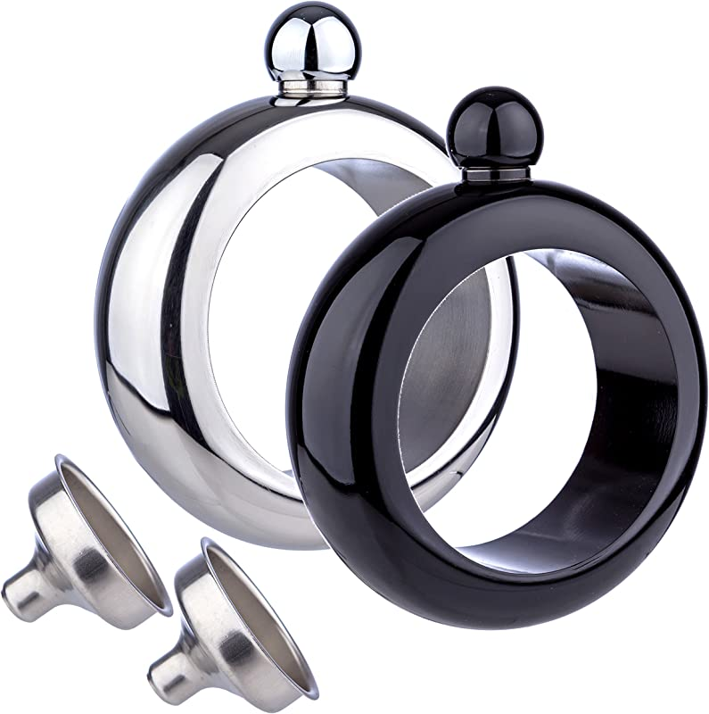 Bangle Bracelet Wine Alcohol 3 5 Oz Flask Stainless Steel Black And Silver Creative Gift Set For Women Bonus Funnel Included