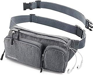 پاکت Fanny برای زنان و مردان کیف کمر بند نازک - مسافرت کمپ پیاده روی - سوراخ هدفون، کمربند پولی با 6 جیب، تسمه تسمه - آسان حمل هر تلفن، پاسپورت، کیف پول - دارنده مقاوم در برابر آب