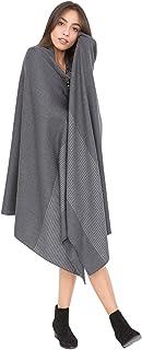 likemary Merino Wool Wrap Shawl & Blanket Scarf Oversize Pashmina Ethical Handwoven with Stripes 100 x 200cm