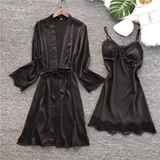 NYKK Lady Nightwear Fashion Women Faux Silk Robe Gown Set Hot Winter Sexy Lace Nightgowns Women Sleepwear Dress Woman Paja...