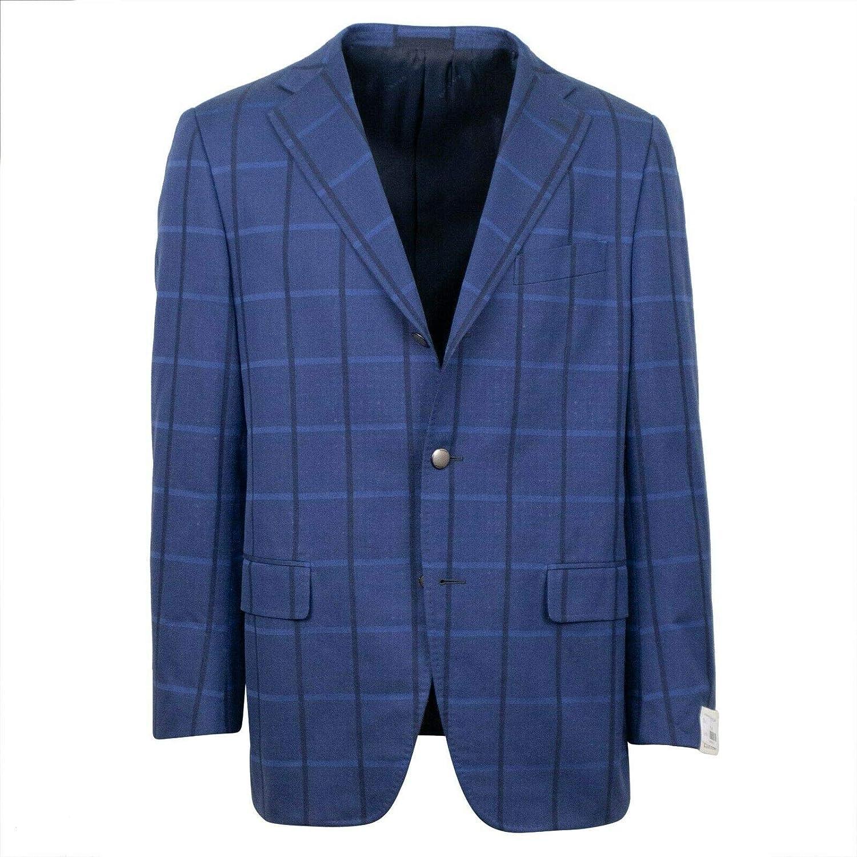 Caruso Blue Cotton Checked 3 Button Sport Coat