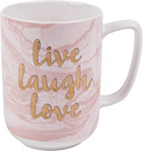 (Marble Live Laugh Love) - Portobello CM05997NBC Devon Marble Live Laugh Love New Bone China Mug, Pink/Gold